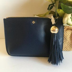 Tory Burch Royal Navy Tassel leather Crossbody Bag